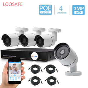 LOOSAFE 4CH HD 720P poe nvr kit 4PCS 1MP Outdoor IP Camera IP66 Waterproof P2P Onvif surveillance camera cctv system