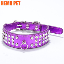 2017 hemu dog cat crystal diamonds necklace jewelry rhinestone purple pet supplies collars