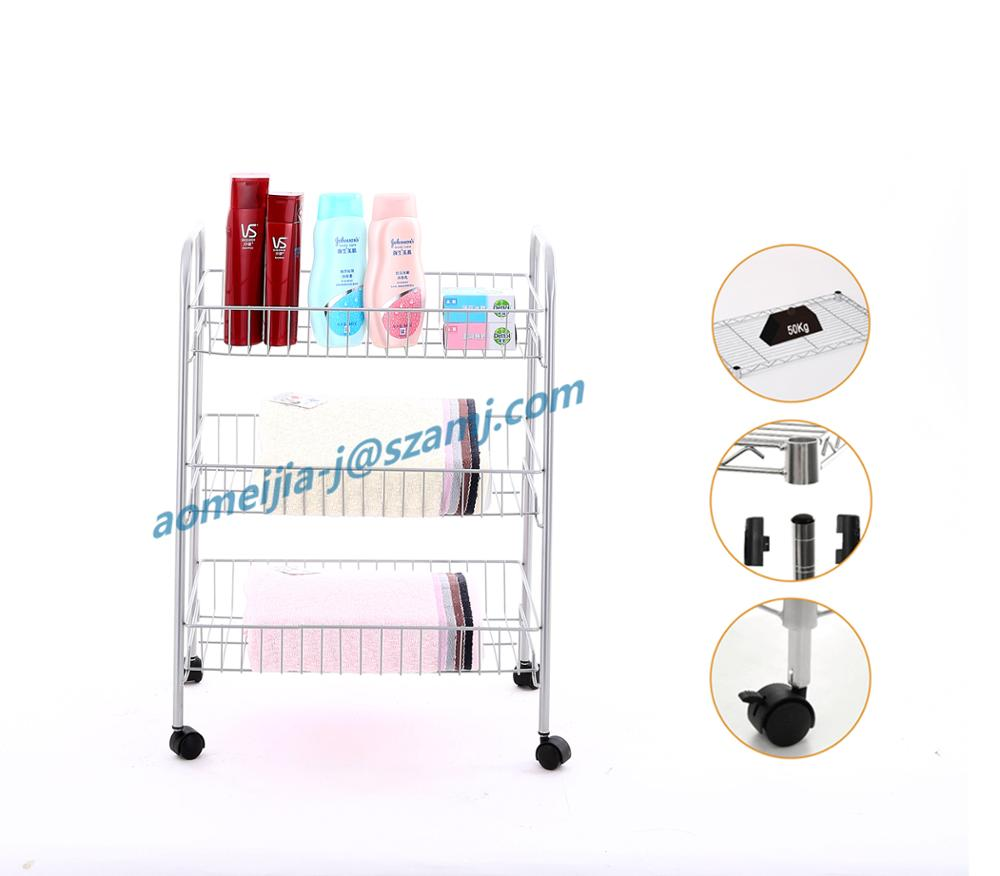 Multi Function Utility Cart Bathroom Storage Cart With 4 Wheels 3 Tier  Trolley