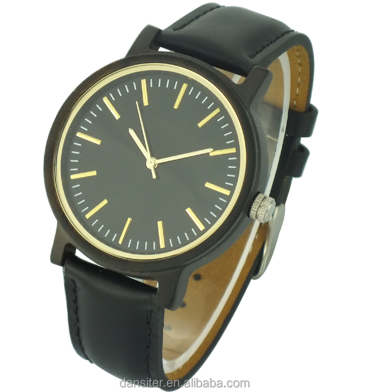 Unisex Gender Black Fashion Quartz Wood Wrist Watch