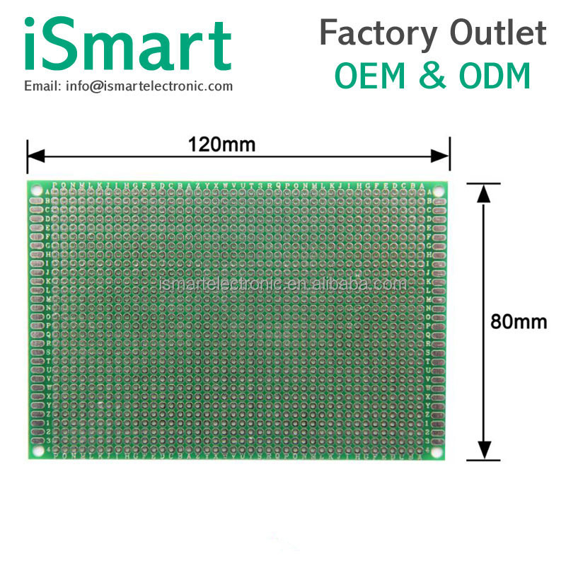 8*12cm thick 1.5 pitch 2.54 single-sided spray tin universa experiment board printed circuit board 8X12CM