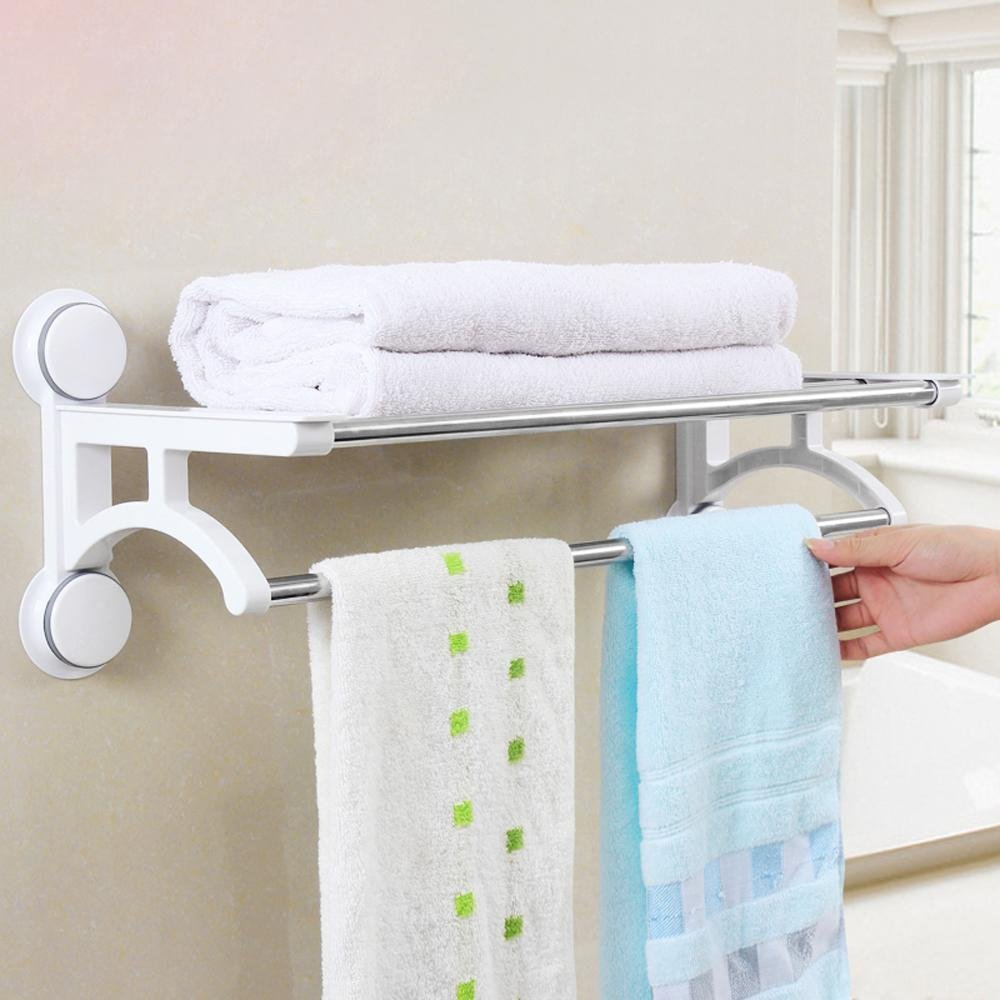 SBWYLT-Sleek, minimalist bathroom creative Towel rack, stainless steel powerful cupule, hole-free multi-purpose towel bar