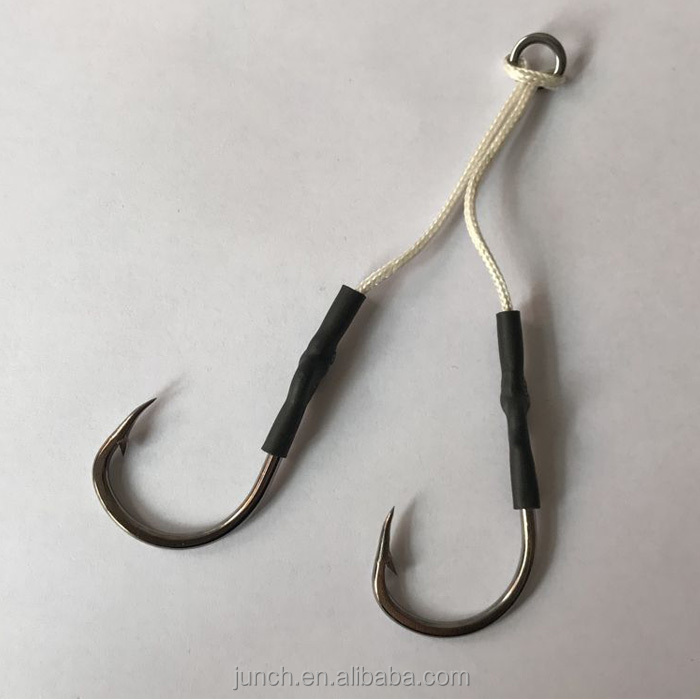 High Quality Sea Hooks Double Assist Hooks Jigging hooks with cord and ring