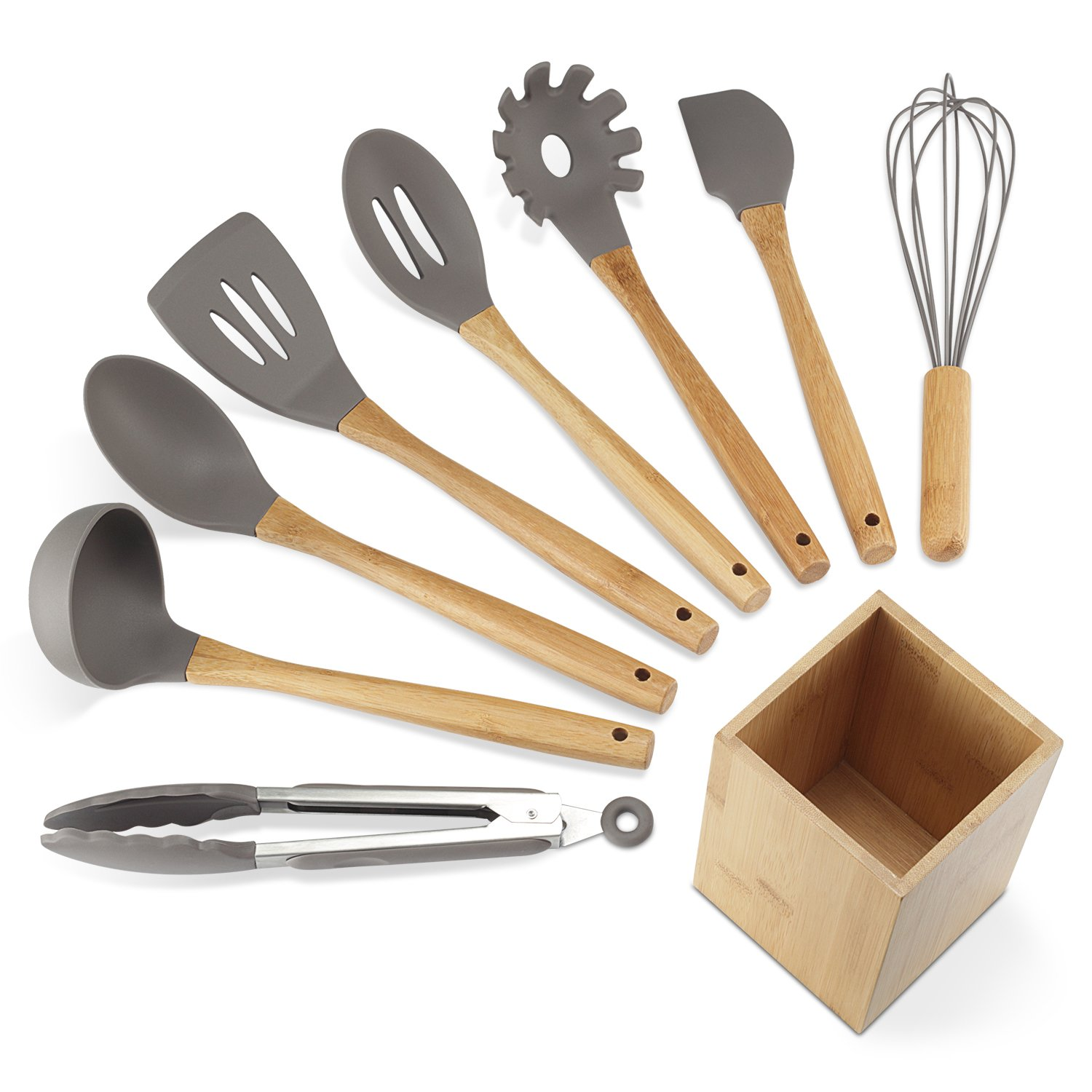 Get Quotations · NEXGADGET Premium Silicone Kitchen Utensils 9 Piece Cooking  Utensils Set With Bamboo Wood Handles For