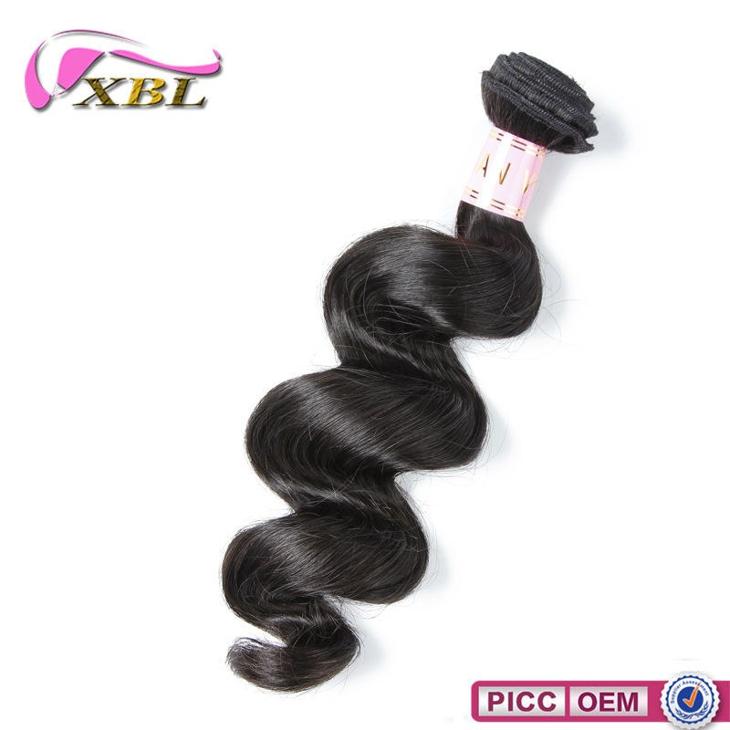 XBL 10A Full Ends Virgin Hair Extensions ,Natural Color Loose Wave Double Drawn Virgin Indian Hair
