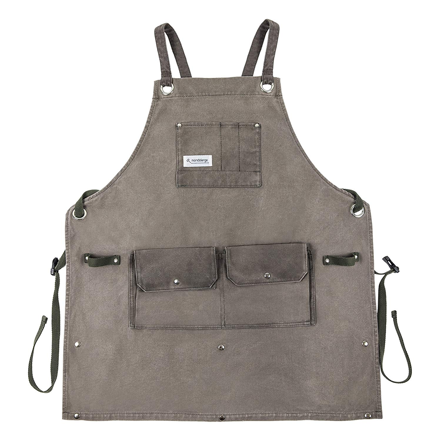 Mondolarge waxed canvas heavy duty garden workshop utility craft tool apron with pockets - Useful for carpenter welding artist painters chef waitress - Fits men women adults small to plus size xxl.