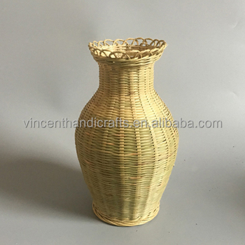Home Desk Decoration Yellow Jar Shape Bamboo Weave Vase For