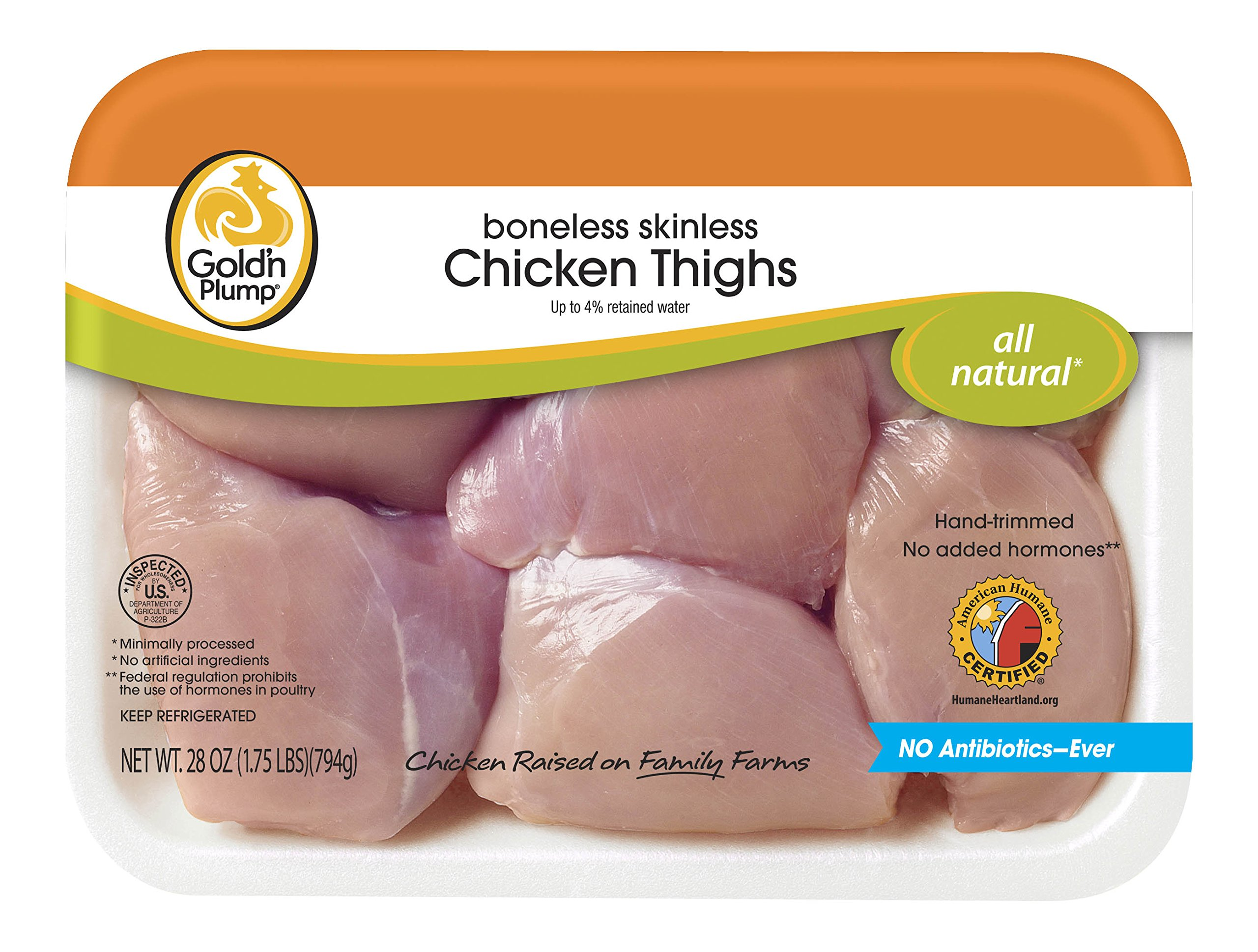 Gold'n Plump, Boneless Skinless Chicken Thighs, 28 oz