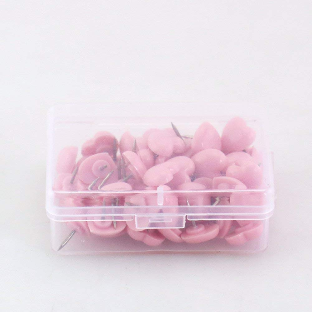 OUTU Heart shape 50pcs/box 2box Plastic Quality Cork Board Safety Colored Push Pins Thumbtack Office School Accessories Supplies H0001 (pink)