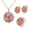 High Quality Rings Necklace Earrings Three Sets Rose Gold Colorful Micro Paved AAA Zircon Women Beautiful Jewelry Sets