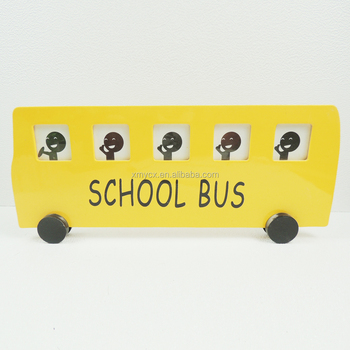 Funny Wooden School Bus Photo Frames for Kids