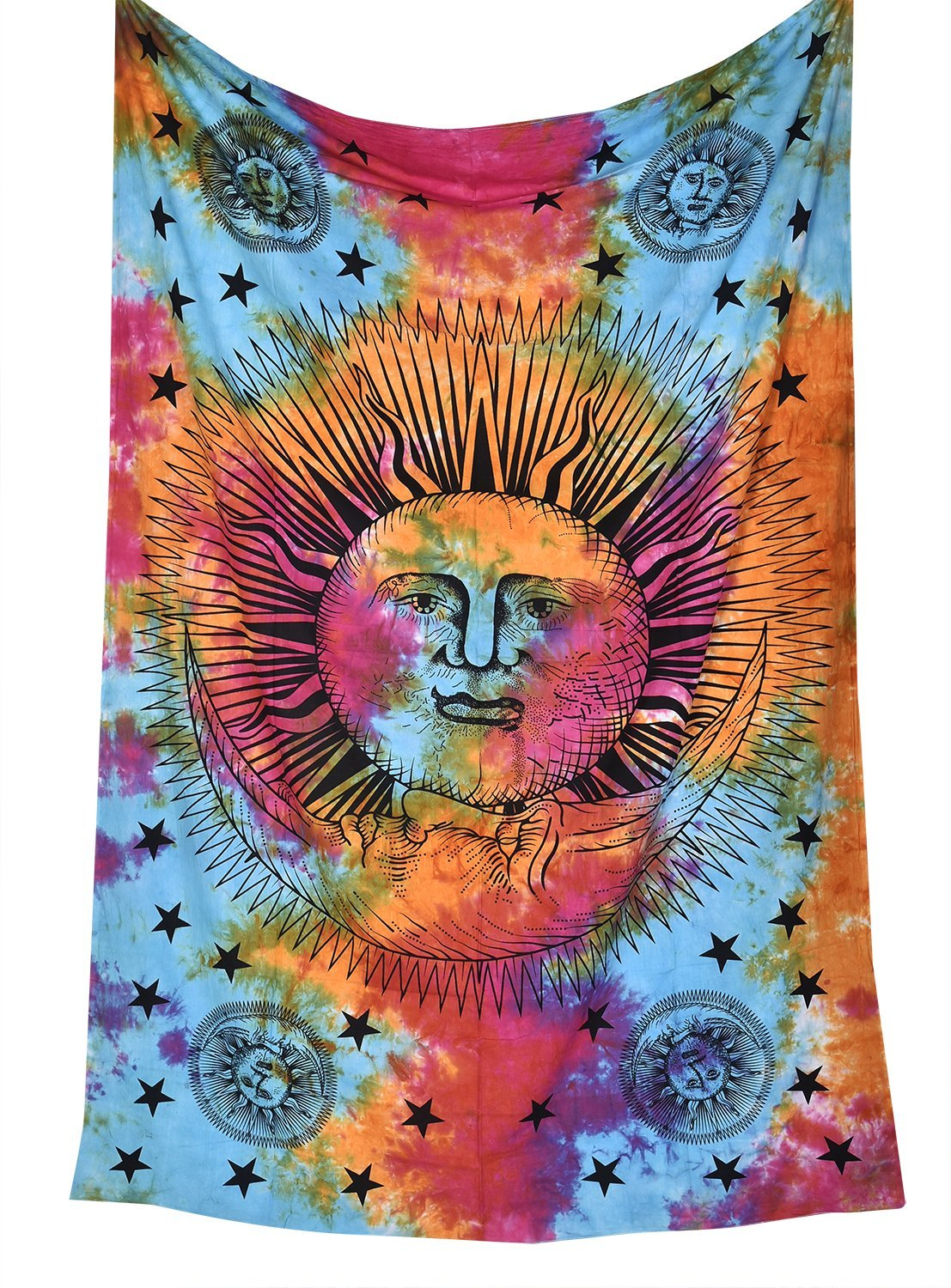 Sun Moon Tapestry Celestial Tapestry Psychedelic Celestial Sun Moon Stars Tie Dye Tapestry Hippie Hippy Wall Hanging Indian Tapestry