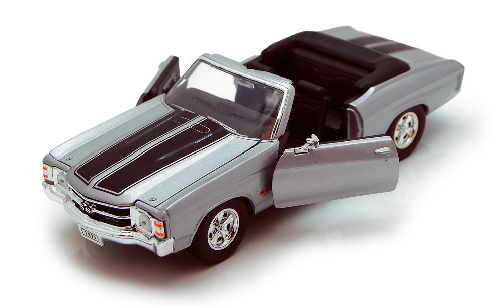 1971 Chevy Chevelle SS454 Convertible, Silver - Welly 22089 - 1/24 scale Diecast Model Toy Car