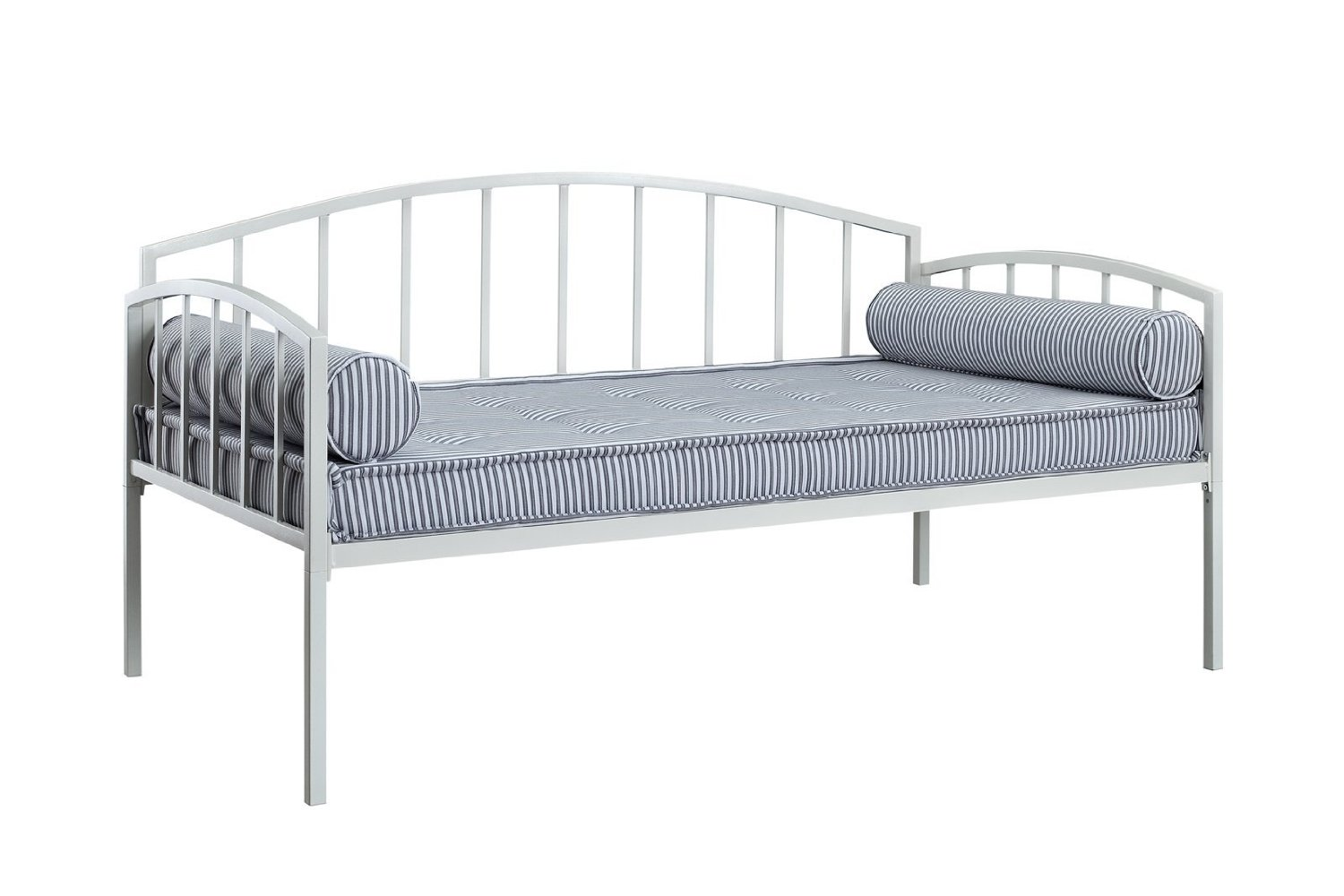 DHP Ava Metal Daybed Frame with Round Arm Design, Twin Size, White
