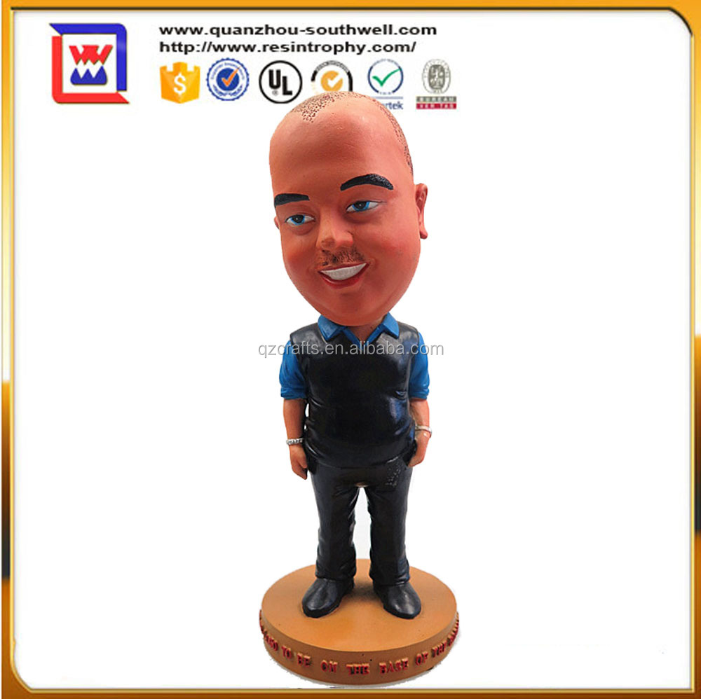 grappige bobble heads en polyresin resin bareheaded bobble head