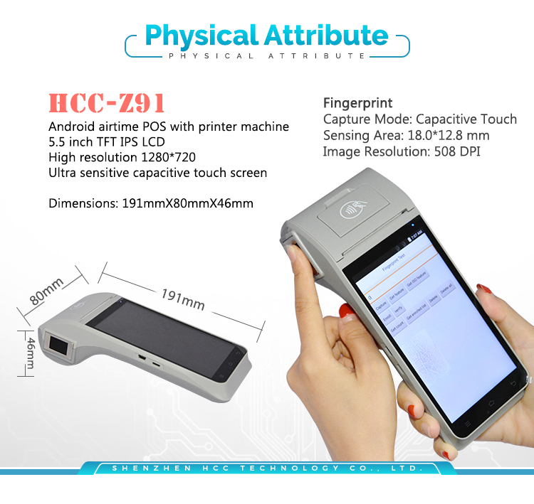 3G 4G & Wifi NFC Mobile Smart Handheld Android POS Device For Restaurant HCC-Z91