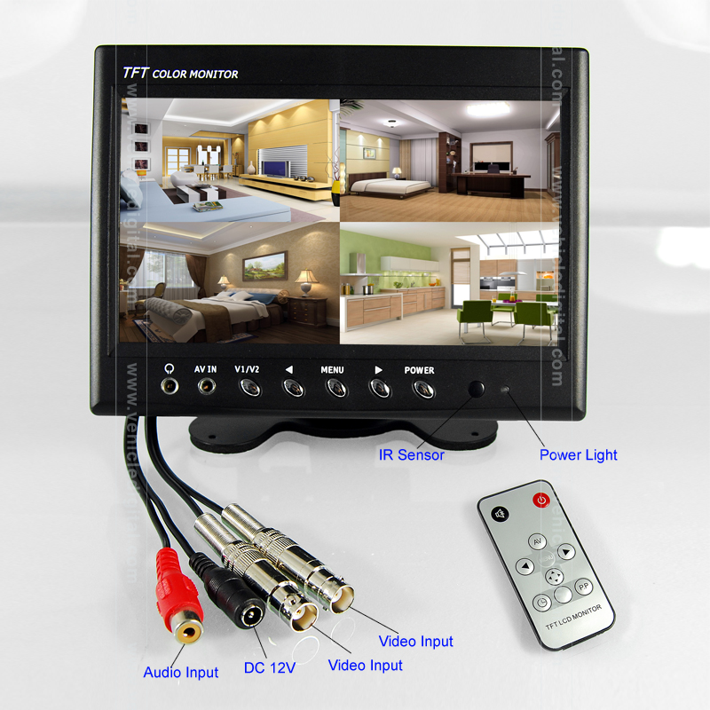 9 inch BNC Connector CCTV Car LCD <strong>Monitor</strong> with Audio with Two AV Input, can be hung or stand-by