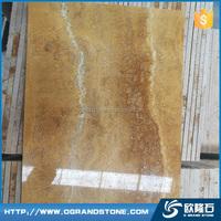 Golden origin travertine stone table top