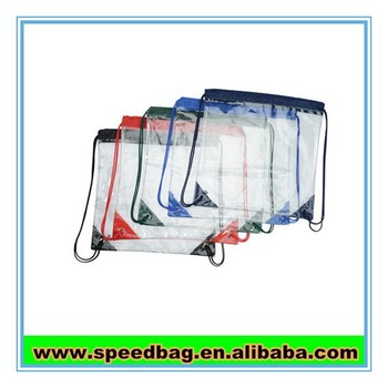Wholesale fashion design childrens swim gym Beach duffel drawstring carry transparent pvc beach bag