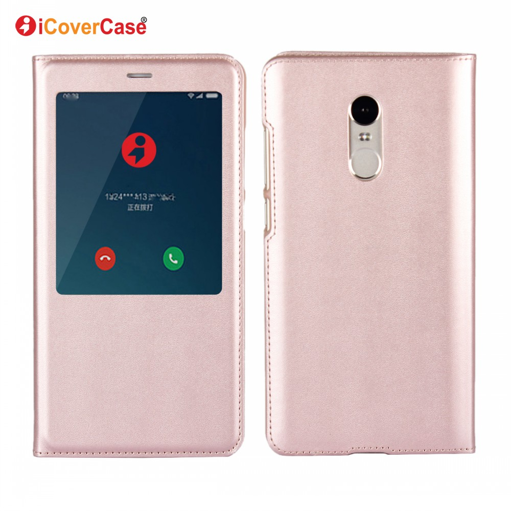 New Product Cell Phone Cover PU Leather Flip View Case for Xiaomi Redmi Note 4X with Auto Sleep Function Coque Fundas