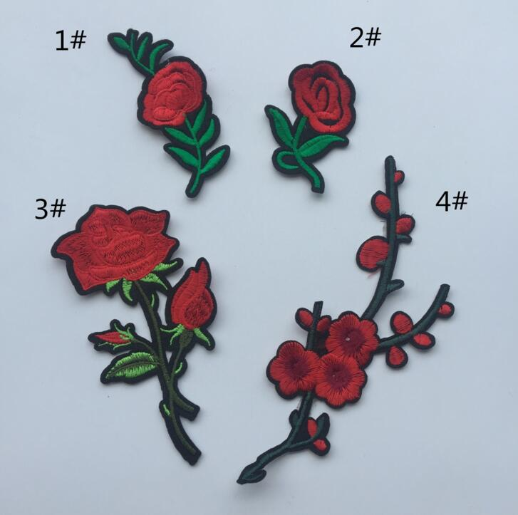 Alibaba Fancy Flower Patch Rose Heat Press Handwork Cotton Embroidery Designs D03