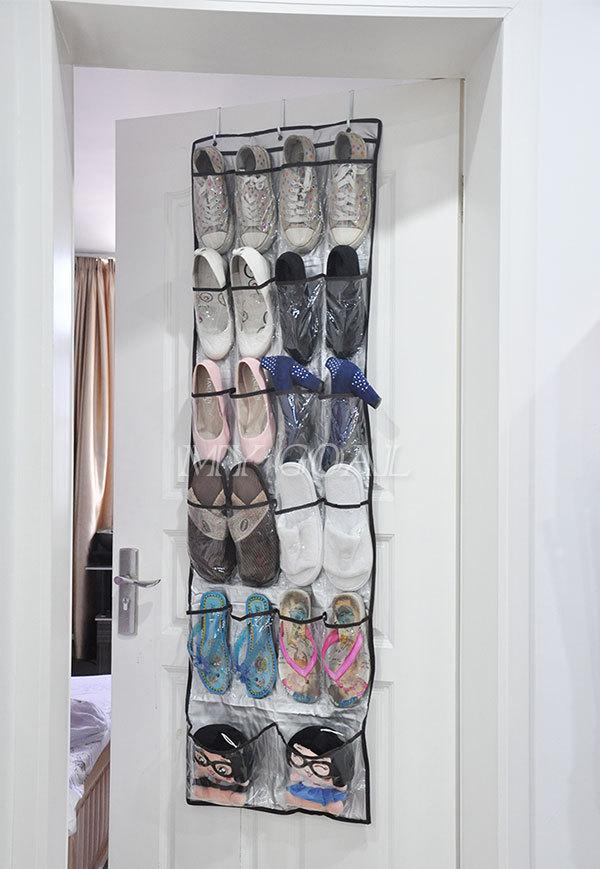 22 pockets clear over door hanging bag shoe rack hanger storage tidy organizer hot in storage. Black Bedroom Furniture Sets. Home Design Ideas