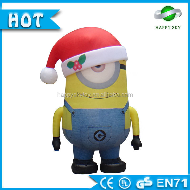 2016 christmas inflatable minions cartoon and Santa Claus cartoon for hot sales