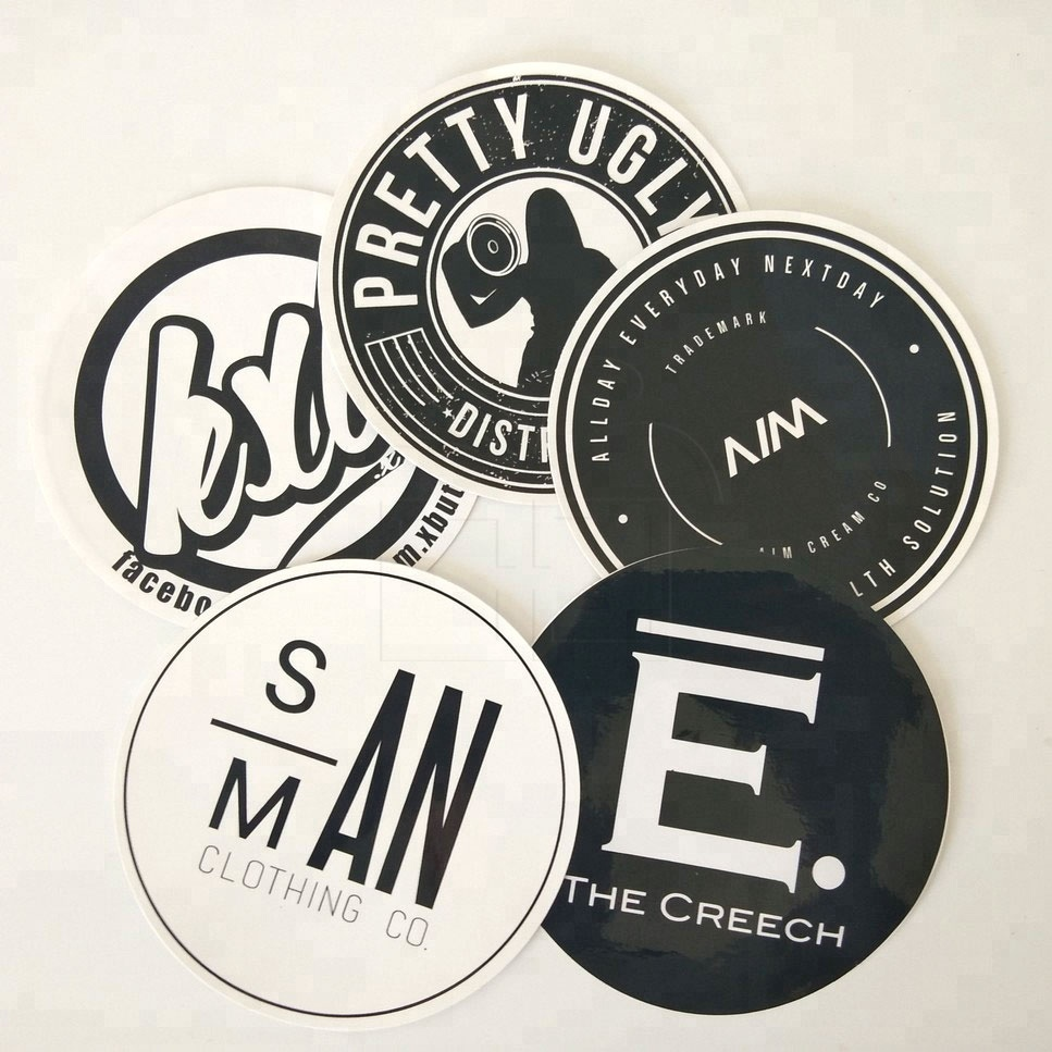 Custom Waterproof Company Logo Printed Round Shape Advertising Vinyl Sticker