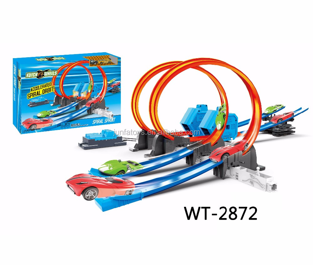 racing die-cast cars track set rack play set including 2 alloy car 2872