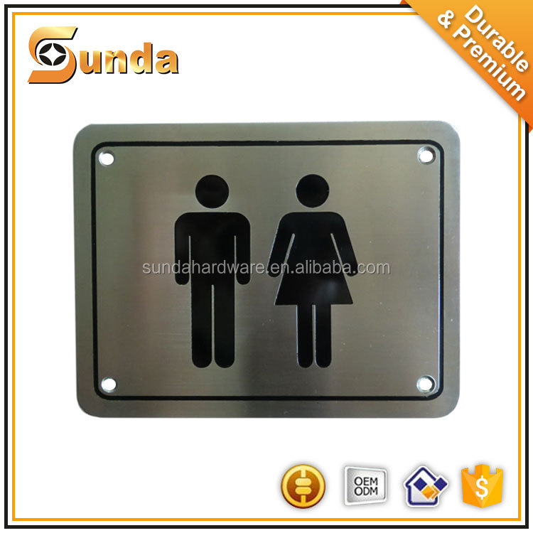 hot sale stainless steel 304/316 toilet sign plate for fire door locked