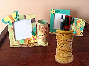 Valentine Day Special Gift, Wooden Hand Carved Pen Pencil Stand Holder, Office Desk Organizer, Pen Holder Desk Organizer, Pen Storage Holder, Yellow Color Size 4 X 2.9 inch