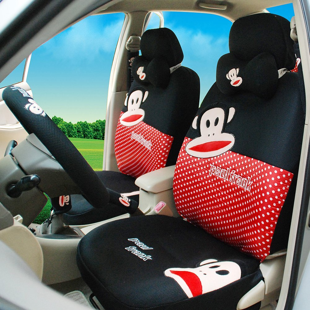Get Quotations Lovely Cartoon Car Front And Rear Seat Covers Black Red 18pcs Steering Wheel Cover