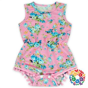 d373d7e18b97 Baby Girl Pink Color Floral Romper Newborn Milk Silk Pom Pom Rompers ...