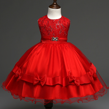 Kids Beautiful Model Dresses Lace Fabric Red Dress Wedding Party ...
