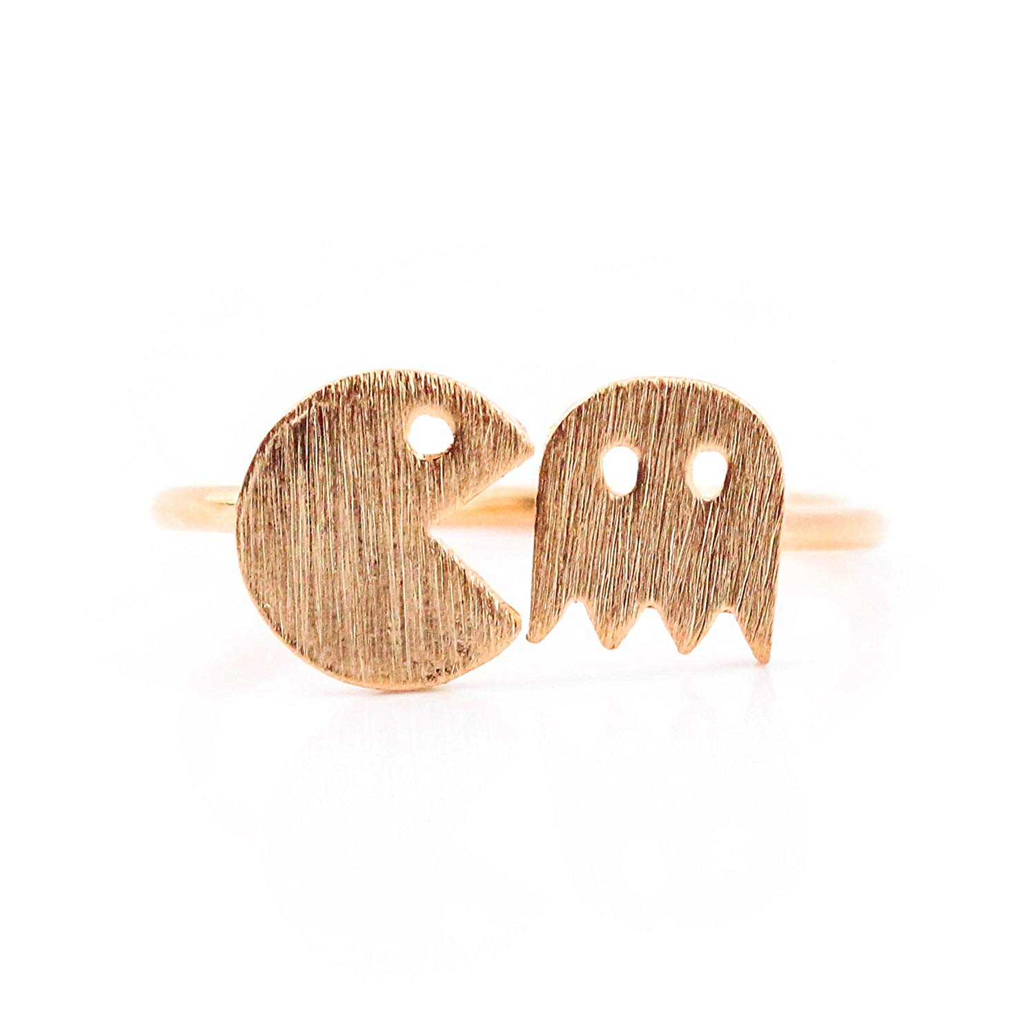 SeaBlue Boutique PAC MAN AND GHOST RING, Rose Gold Plated Alloy Ring, Rose Gold Ring Adjustable for Women Ring Size 6-7 Designer Ring