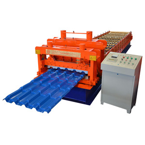 China Manufactures Russian Type 1100 Glazed Alibaba Supplier Galvanized Steel Coil Roof Tile Roll Forming Machine From