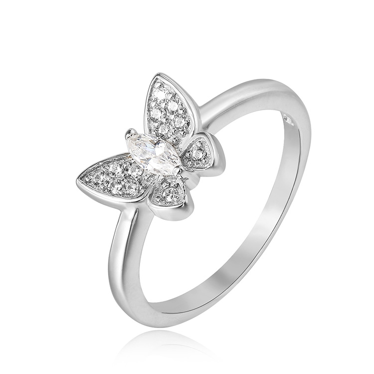 New model micro pave 925 cz Chinese manufacturer butterfly ring zircon