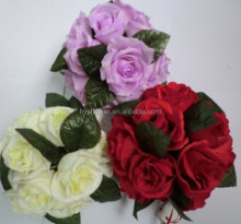 High quality decotation flowers , artificial hanging 18 head rose ball for wedding car