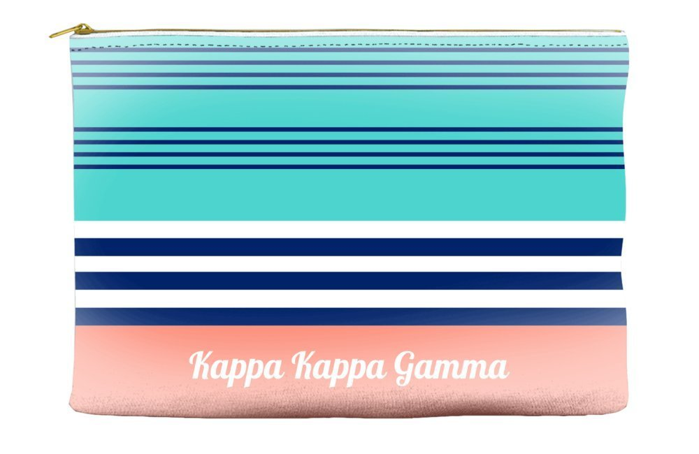 Kappa Kappa Gamma Color Block Teal Cosmetic Accessory Pouch Bag for Makeup Jewelry & other Essentials