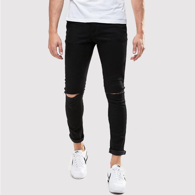 73a146b968e mens black ripped denim jeans popular skinny jeans custom your own brand