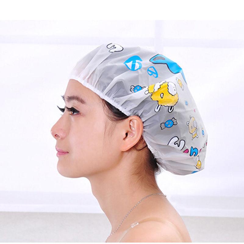 4a981dc0e14 Get Quotations · 2015 Women Ladies Clear Bath Spa Caps Elastic Waterproof  Hats Comfortable Lovely Cartoon Shower Caps Bathing