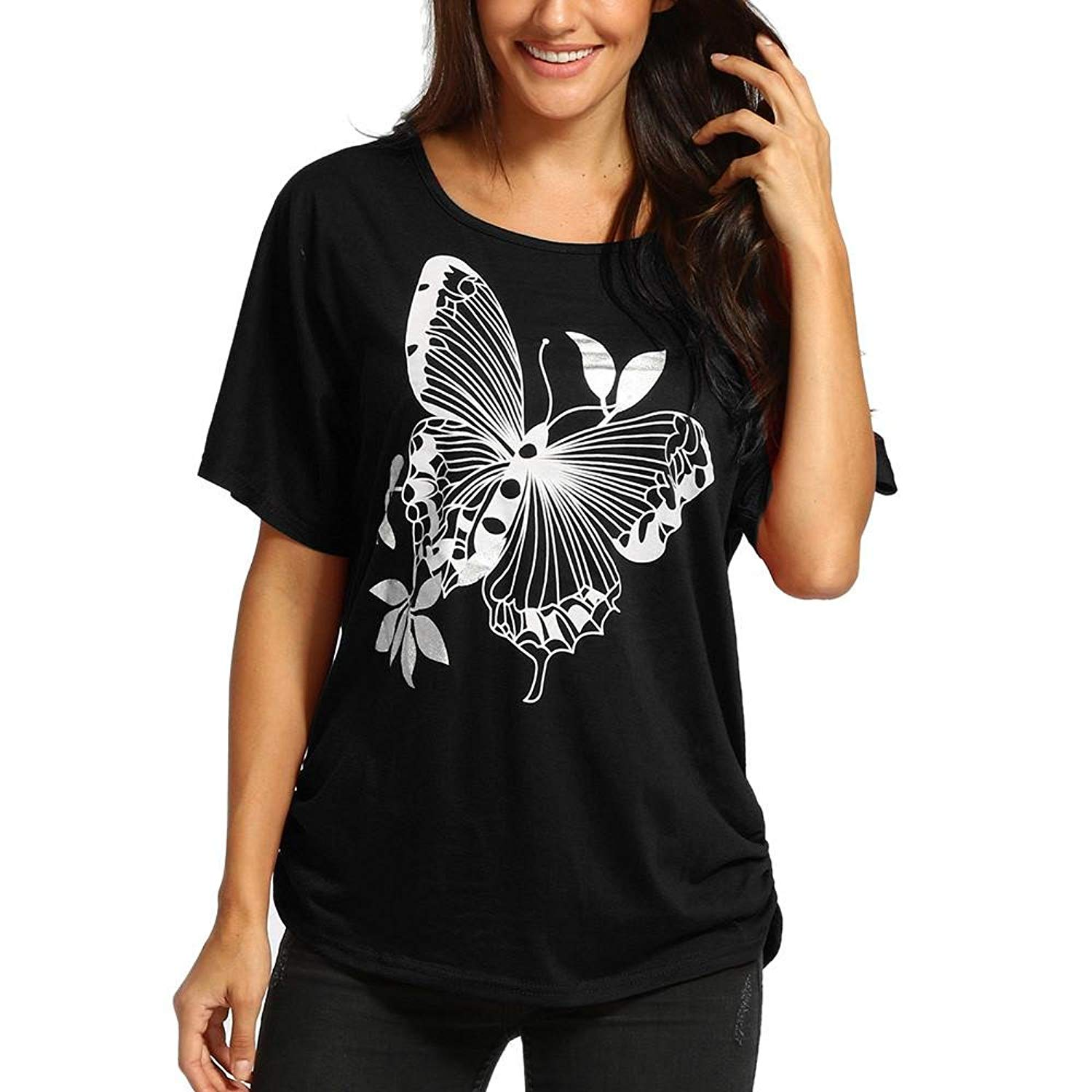 6662a0adc89 Get Quotations · MALLOOM Womens Oversized Batwing Baggy Butterfly Print  Short Sleeve Loose Fit Top Shirt