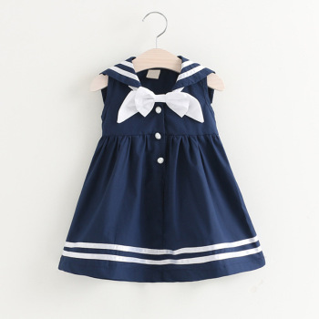 84e13cfd5ef0 2019 new summer children dresses baby girl navy wind bowknot casual dress  kids striped summer cotton