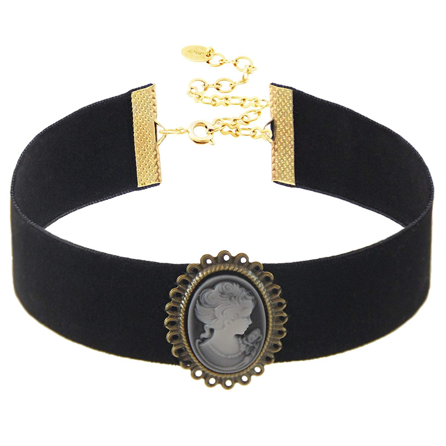 "Black Velvet Choker with Vintage Cameo Pendant, 18K Gold Plated Closure. Length: 11"" with 4"" extender, Width: 25mm. Pendant Size: 28x35 mm."