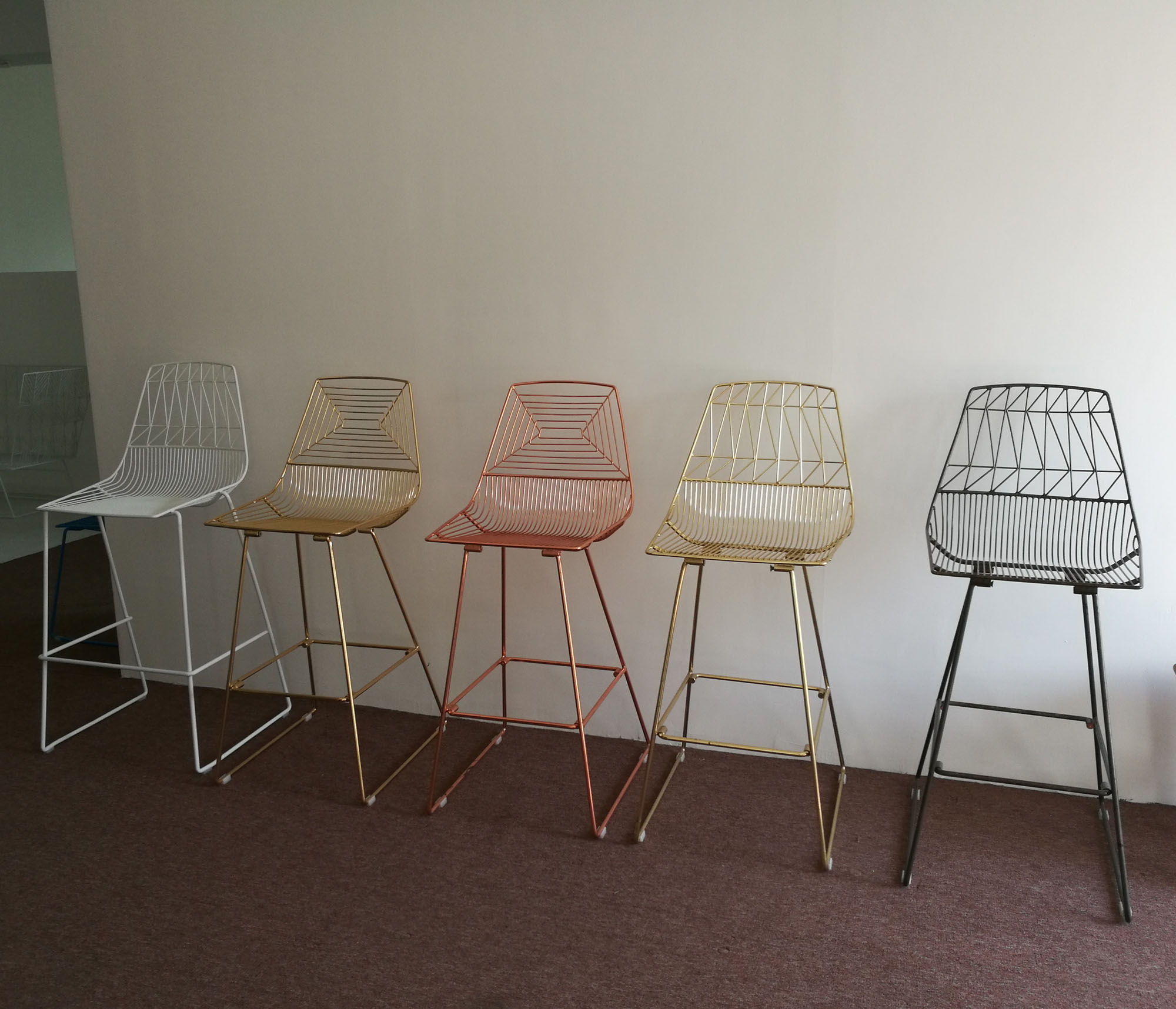 Stackable Rose Gold Metal Wire Bar Chair Harry Bertoia Wire Bar Chair Buy Metal Frame Stackable Bar Chair Copper Wire Bar Stools Rose Gold Wire
