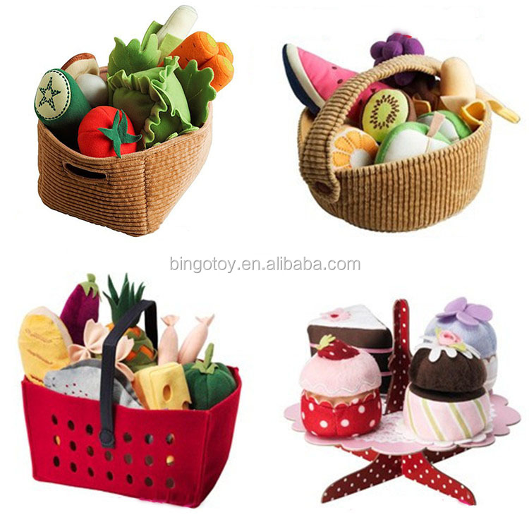 2016 High Quality Wholesale soft plush toy basket with food