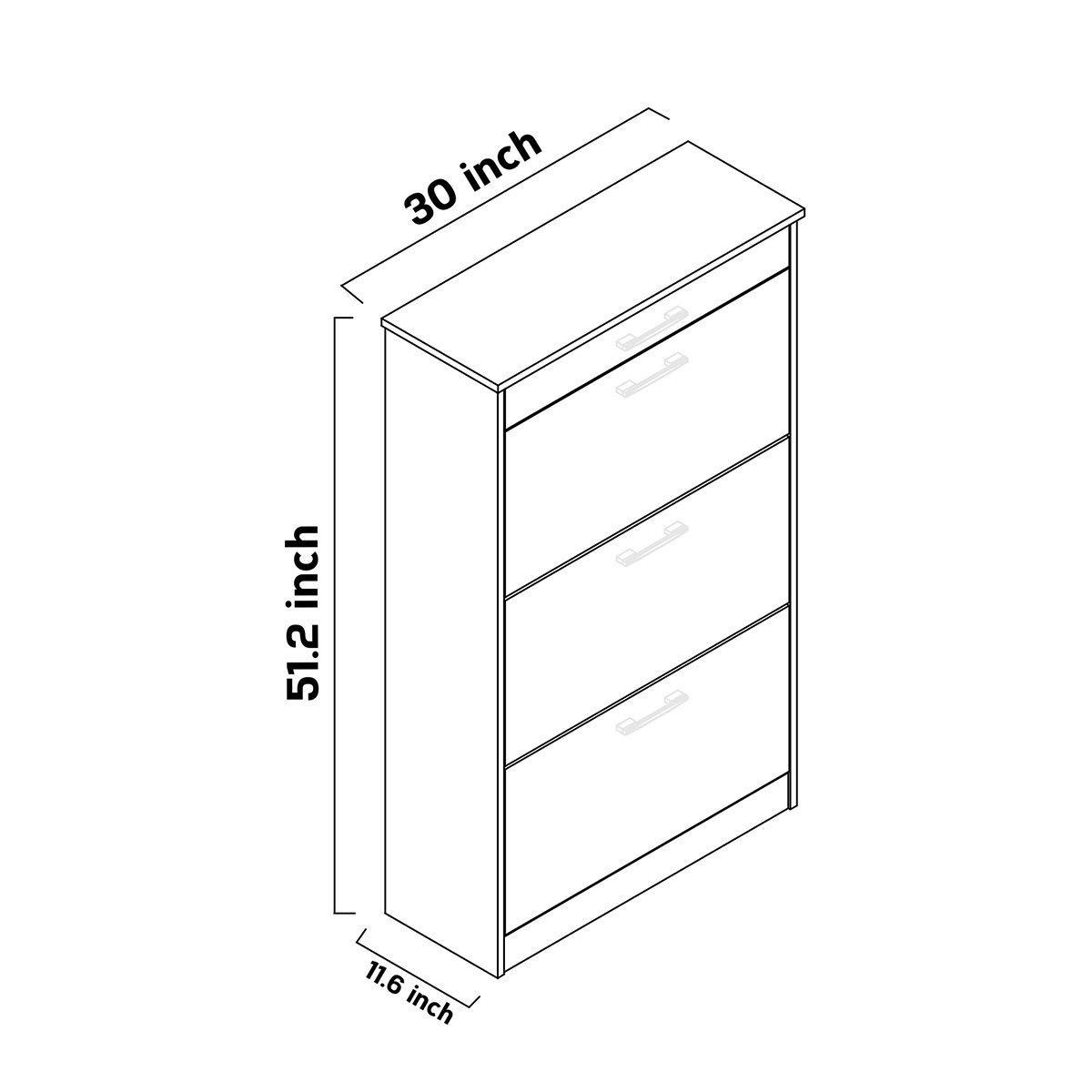 Adore SHC 431 PB 1 Contemporary Shoe Cabinet, High Gloss White