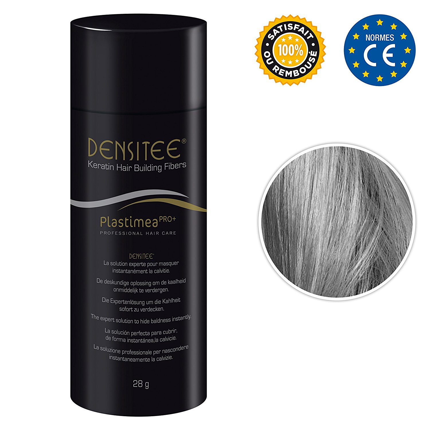 !!! SPECIAL OFFER !!! DENSITEE Hair Loss Solution – 28g Hair Building Keratine Fibers – For MEN and WOMEN - Grey
