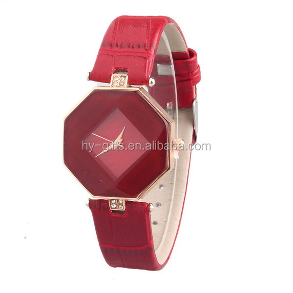 hot sale small lady quartz leather watch diamond face leather watch