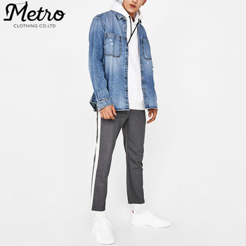 ceef943262 Oem Mens Casual Fit Jeans Shirts Ripped Blue Denim Overshirt - Buy ...